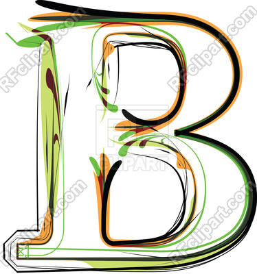 374x400 Organic Type Letter B Royalty Free Vector Clip Art Image