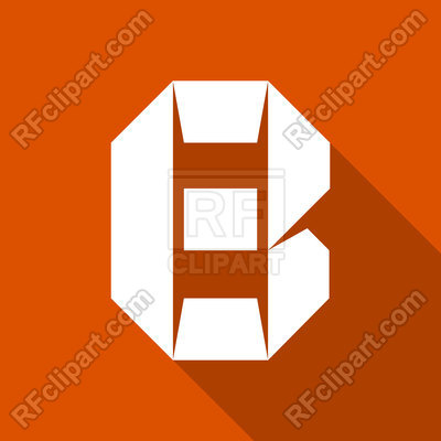 400x400 Paper Cut Font White Letter B On Orange Background Royalty Free