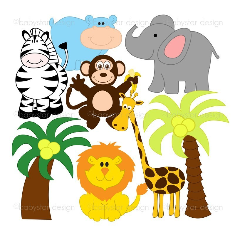 800x800 Baby Jungle Animals Clipart Free Download Clip Art Animal