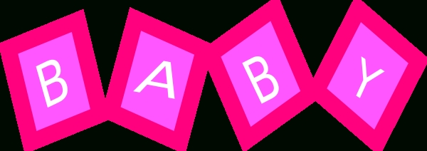600x212 Pink Baby Blocks Clip Art