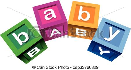 450x242 Wooden Baby Blocks. Colorful Blocks With The Word Baby. Vector