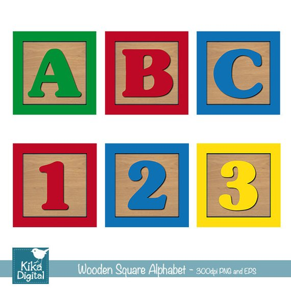 570x570 Baby Blocks Alphabet And Numbers Digital Clipart, Wooden Blocks