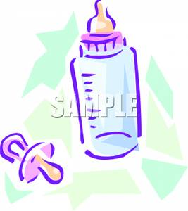 267x300 A Pacifier And A Baby Bottle Clipart Image