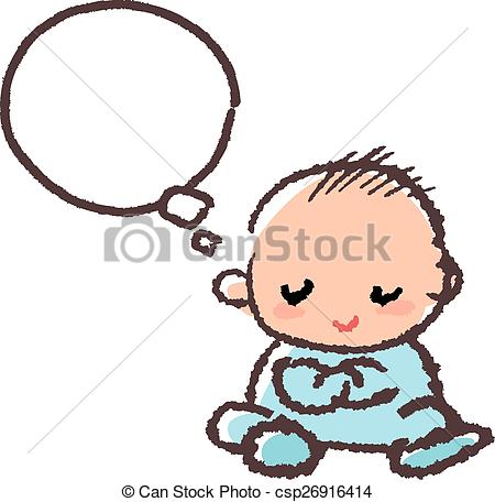 450x456 Baby Boy Crossing Arm And Thinking Against White Background Vector
