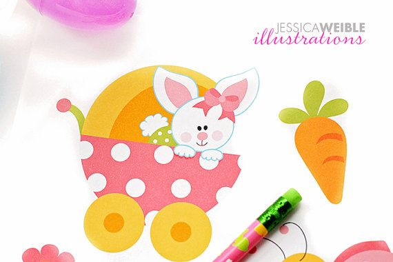 570x380 Baby Bunny Girls Cute Digital Clipart Easter By Jwillustrations