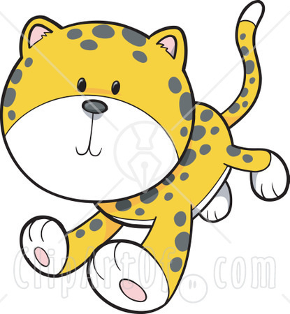 415x450 13488 Cute Baby Cheetah Or Leopard Cub Leaping Clipart