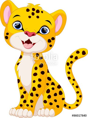 376x500 Vector Cute Cheetah Cartoon