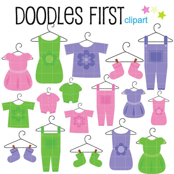 570x570 Baby Clothes Clipart Digital Clip Art For Scrapbooking Card