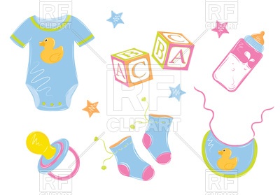 400x279 Baby Clothes With Bottle, Nipple, Cubes Royalty Free Vector Clip