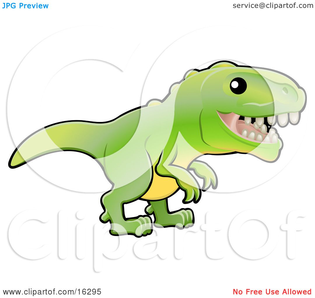 1080x1024 Baby Green T Rex Dinosaur With Dull Teeth Clipart Illustration