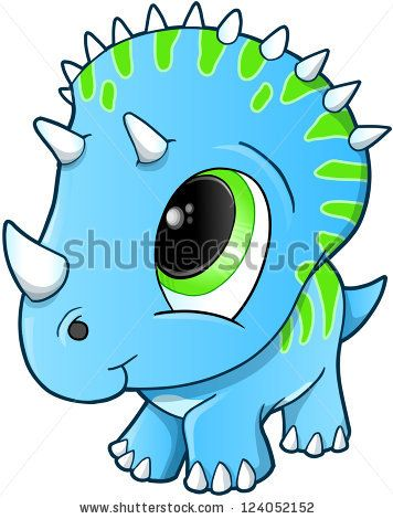 356x470 Cute Baby Triceratops Dinosaur Vector Illustration By