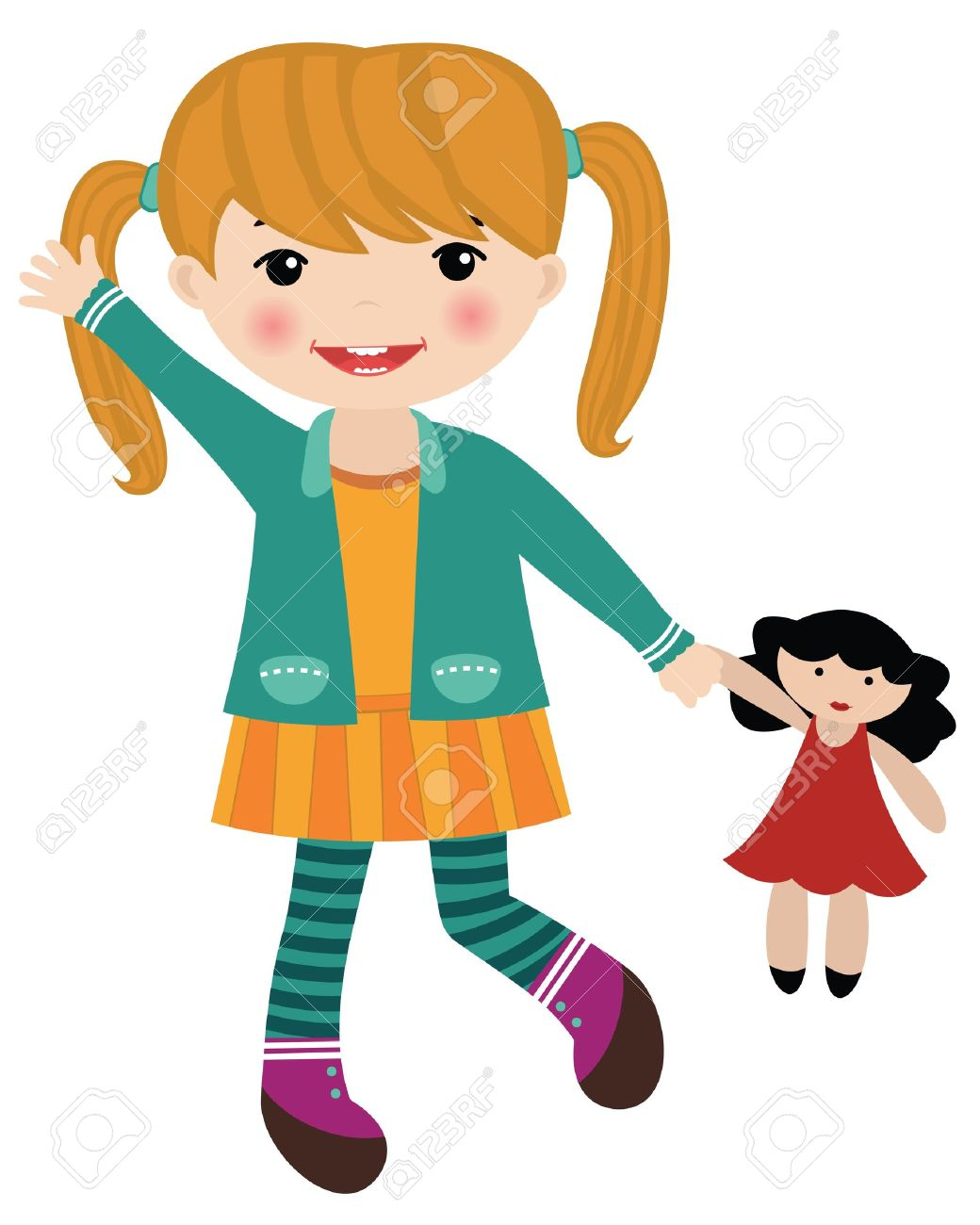 1040x1300 Girl With Doll Clip Art