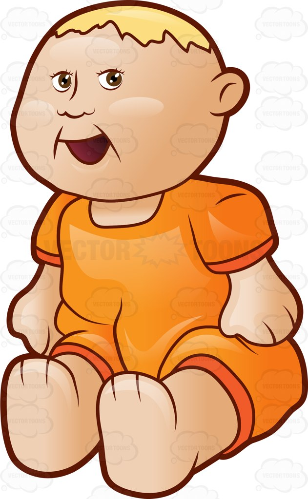631x1024 A Blonde Baby Doll In An Orange Outfit Cartoon Clipart