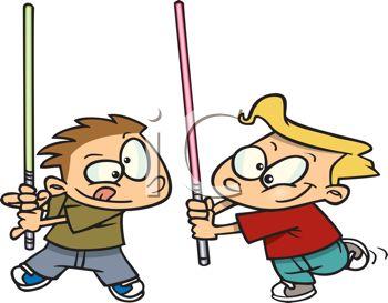 350x273 Cartoon Of Two Boys Make Believe Sword Fighting
