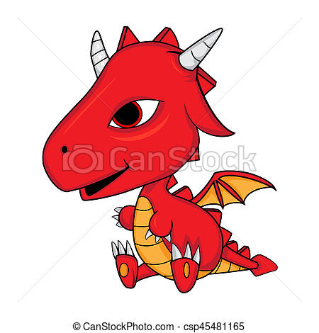 450x470 Illustration Of Cute Cartoon Baby Dragon Jpeg. Stock