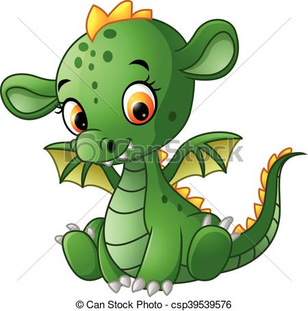 450x454 Vector Illustration Of Cute Baby Dragon Vectors Illustration