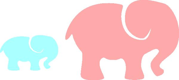 600x271 Grey Elephant Mom Amp Babypink And Blue 2 Clip Art