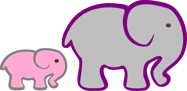 600x292 Pink Baby Elephant Clip Art