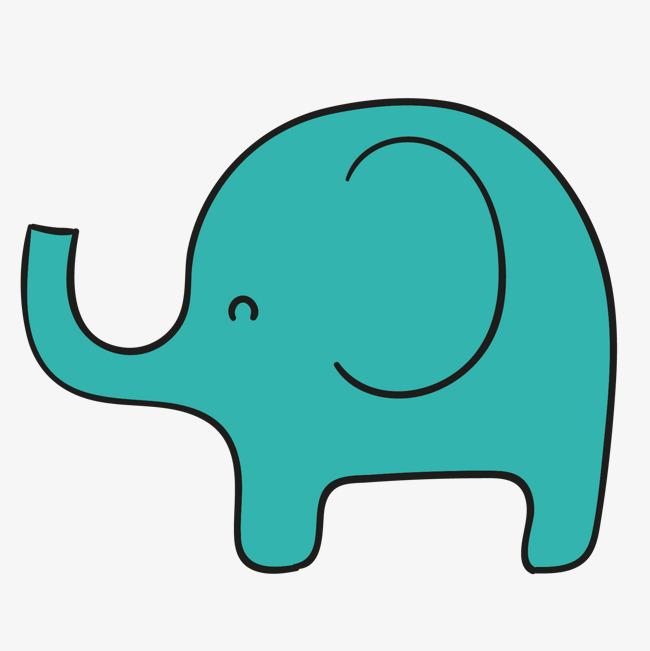 650x651 Cartoon Baby Elephant, Green Cartoon Elephant, Hand Painted Baby