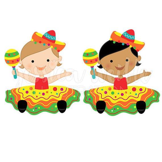 570x570 Fiesta Baby Girl Cute Digital Clipart, Baby Fiesta Girl Clip Art