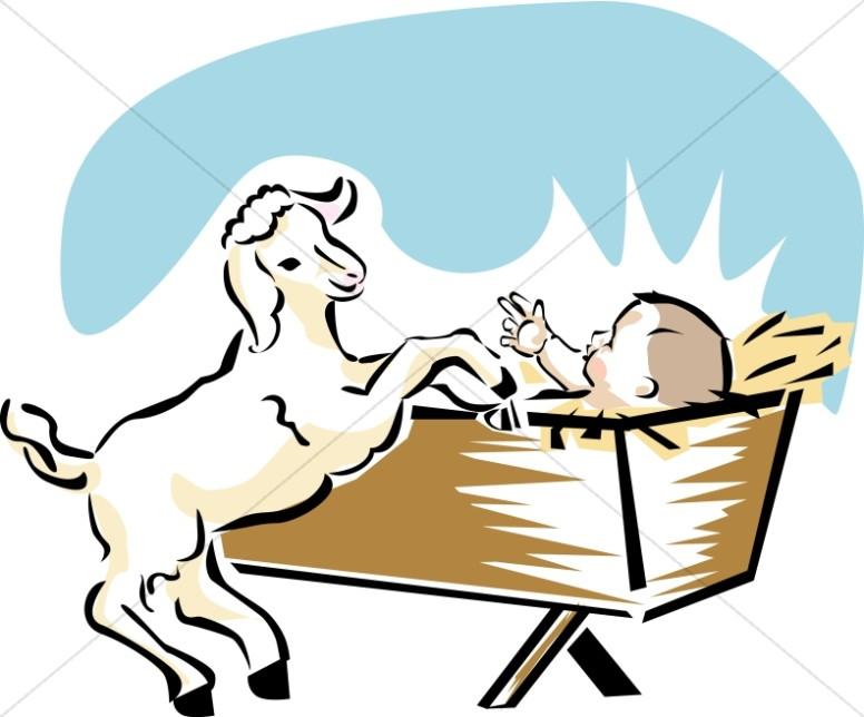 776x644 Baby Jesus With Goat Baby Jesus Clipart