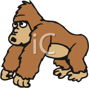 350x347 Cartoon Of A Friendly Gorilla