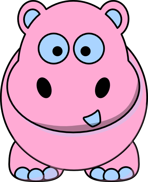 486x600 Pink And Blue Hippo Clip Art