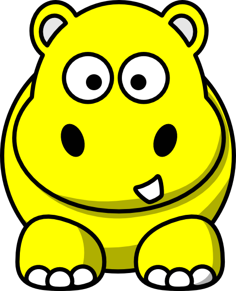 486x600 Yellow Hippo Clip Art