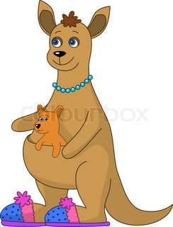 244x320 Kangaroo With Baby Stock Vector Colourbox