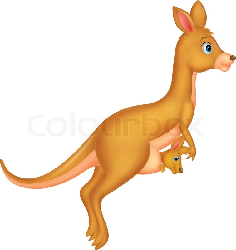 756x800 Vector Illustration Of Mother And Baby Kangaroo Cartoon Stock