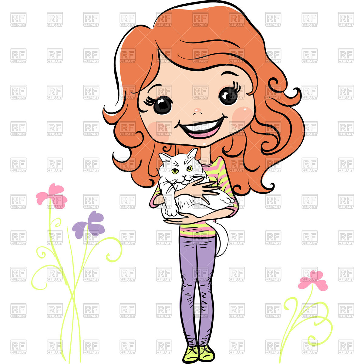 1200x1200 Cute Red Hair Girl With Kitten In Hands Royalty Free Vector Clip