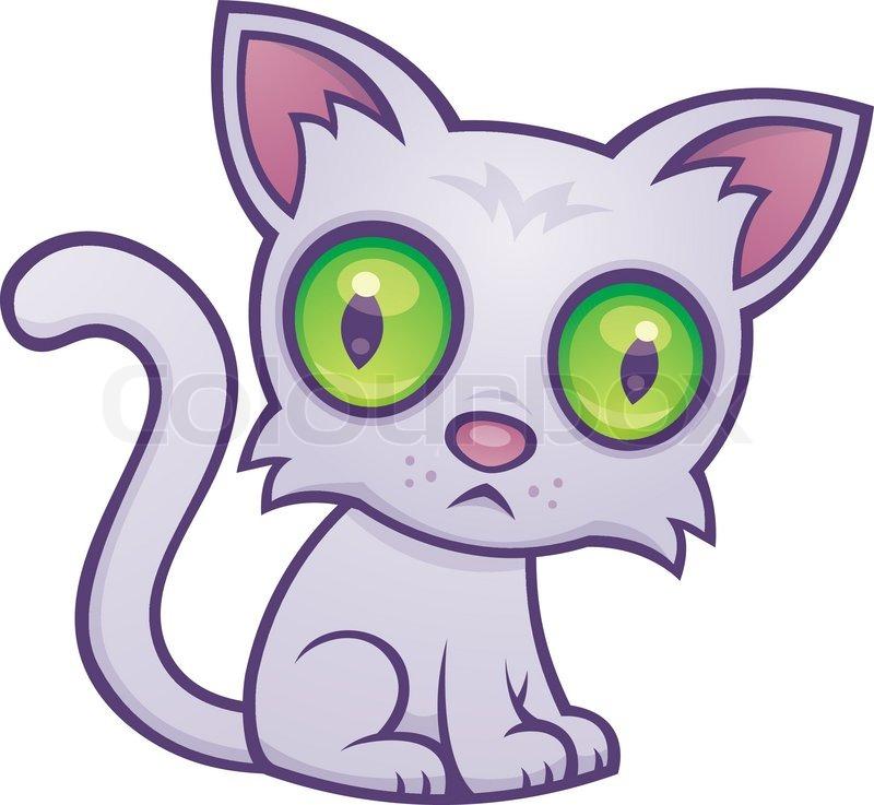 800x737 Vector Cartoon Illustration Of A Cute Kitten With Big Green Eyes