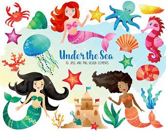 340x270 Gold Mermaid Clip Art + Digital Paper Set, Mermaid Digital