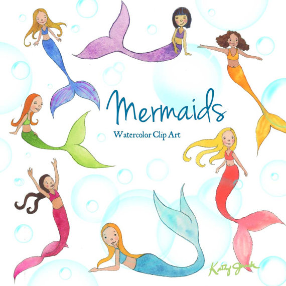 570x570 Mermaid Watercolor Clip Art