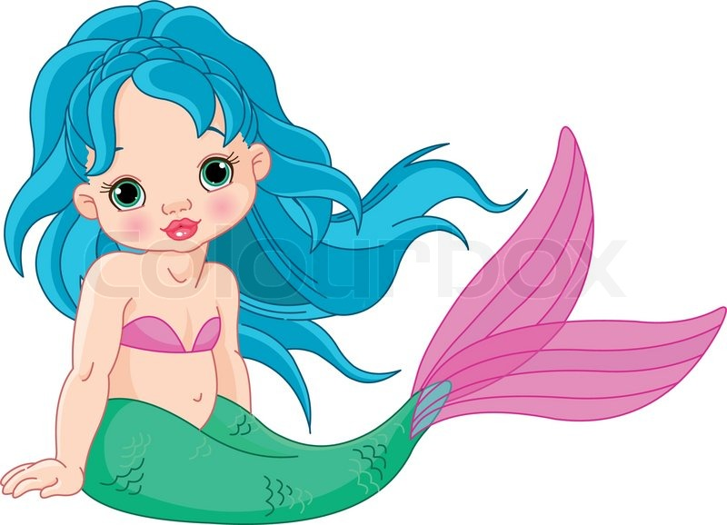 800x578 Illustration Of A Cute Baby Mermaid Girl Stock Vector Colourbox