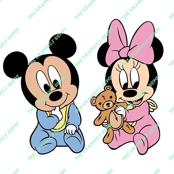 570x570 Baby Mickey Mouse Baby Minnie Mouse Svg Dxf Png Eps Files