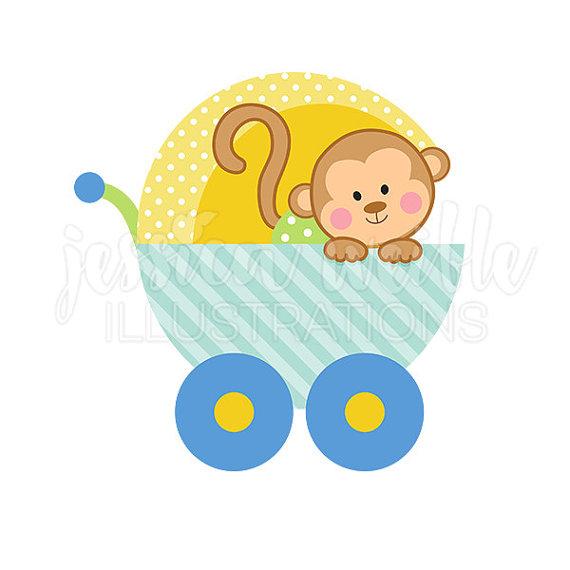 570x570 Baby Monkey Clipart Ba Boy Monkey Carriage Cute Digital Clipart