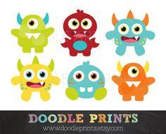 236x190 Cute Monsters Digital Clip Art, Digital Clip Art, Ugly Monsters