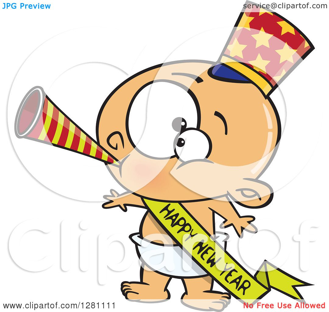 1080x1024 Cartoon Clipart Of A Caucasian New Year Baby Blowing A Horn