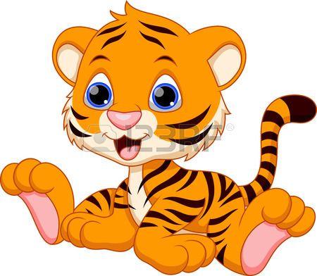 450x392 Cute Baby Tiger Cartoon Stock Vector Cuties