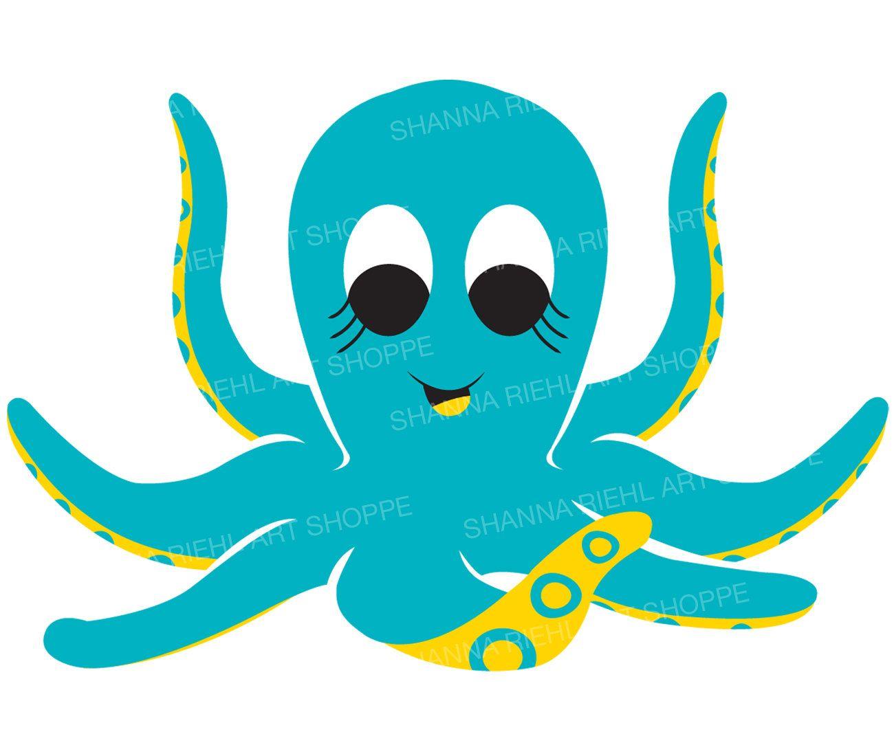1300x1100 Cute Octopus Nautical Clipart Under The Sea Octopus Illustration