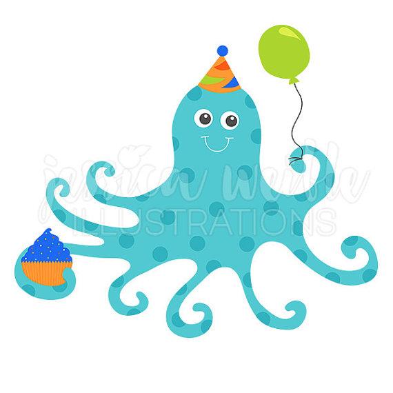 570x570 Blue Birthday Octopus Cute Digital Clipart, Cute Octopus Clip Art