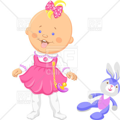 400x400 Happy Baby Girl In A Pink Dress With Toy Rabbit Royalty Free