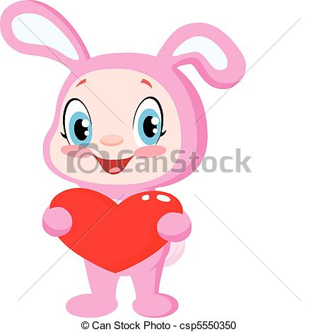450x470 Baby Bunny Holding A Heart. Cute Baby In A Bunny Costume Vector