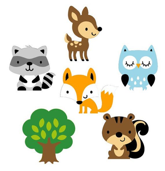 570x590 Set Of 6 Woodland Animal Die Cuts Woodland Baby Shower Paper
