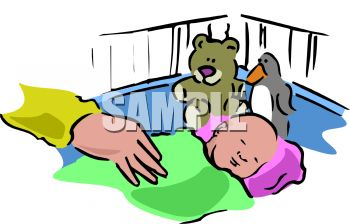 350x224 Clip Art Illustration Of A Baby Sleeping In His Crib