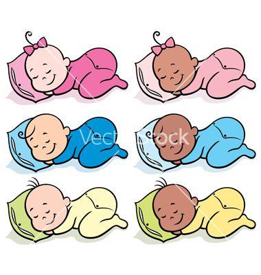 380x400 Sleeping Babies Vector On Vectorstock