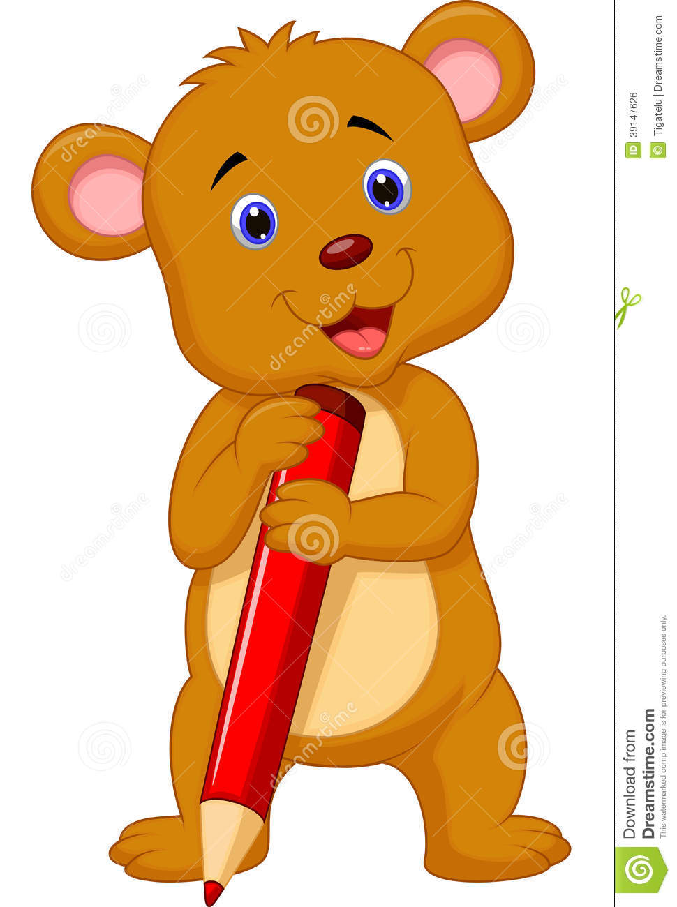970x1300 Cute Teddy Bear With Pencil Clipart