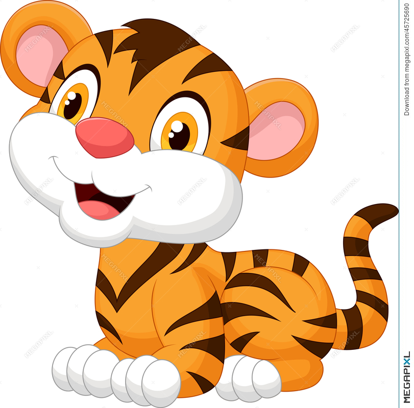 811x800 Cute Baby Tiger Cartoon Illustration 45725690