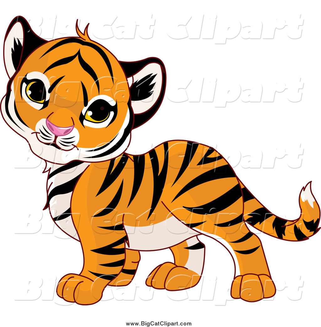 1024x1044 Big Cat Cartoon Vector Clipart Of A Cute Baby Tiger Cub Tilting